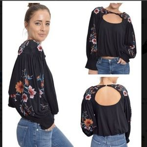 🆕FREE PEOPLE LITA FLORAL EMBROIDERED BLOUSE(Sz XS